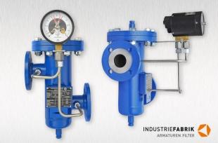 Einfachfilter Typ EF, Stahl, DN50 mit Differenzdruck-Anzeiger und Magnetspringkontakt Typ 821
