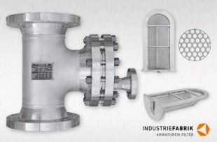 Schutzsieb Edelstahl, Form T mit Flanschanschluss, Einbaulage vertikal, DN200, 300 lbs