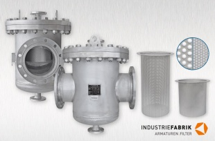 Basket strainer stainless steel, Type SKF, DN250, with filter insert and temporary sieve