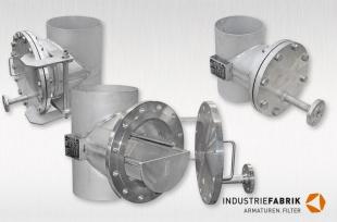 Rohrfilter / Rohrleitungsfilter Form T, Edelstahl, DN400 / DN200 mit Schweißenden