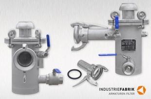 Einfachfilter DN80 mit Reinigungs- / Spülfunktion, Anschluss: Kupplung System Perrot M-Teil mit Schlauchtülle